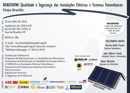 Brasília – Roadshow – Qualidade e segurança nas instalações elétricas e sistemas fotovoltaicos