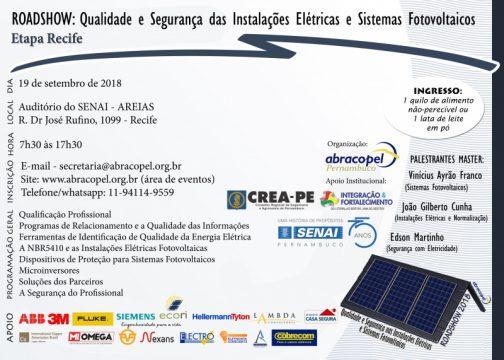 Recife – Roadshow – Qualidade e segurança nas instalações elétricas e sistemas fotovoltaicos