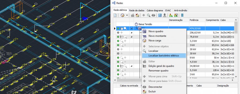 CADs elétricos – Definição do baricentro elétrico, gestão de redes EVAC e anti-incêndio
