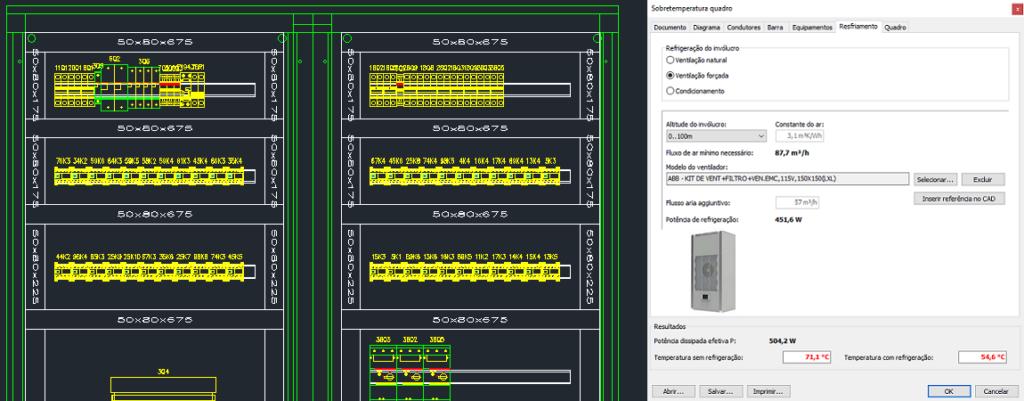 CADs elétricos – Cálculo de sobretemperatura do quadro com ventilação e condicionamento forçado