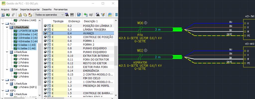 CADs elétricos –  Módulo de E/S do CLP e gerenciamento de conexões de cabos